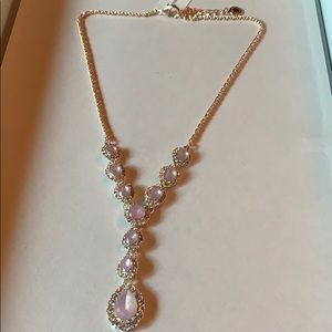 """NWT Crystal pink stone Lariat necklace 17"""""""